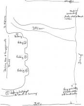 Rough map of Mile 123, showing 5 parking areas, jetty, bluffs