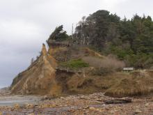 This shows the latest (3/7/11) stage of erosion of the large chunk of the sand bluff that separated from the cliff just north of Grant Creek in 2006.  The vegetated top is gone, and the chunk is eroding significantly.