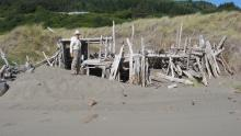 "perennial driftwood ""fort"" S. entrance to mile 23 at Henry's Rock.Mileman Bob in photo too"