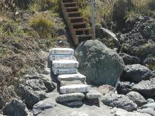 Concrete/cement bag steps at Pigeon  Pt. access to beach.