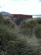 Second view of structure erected on foredune, shows disturbance of sand and vegetation.