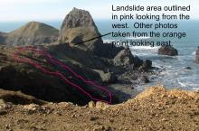 The pink outlines the area of the landslide.