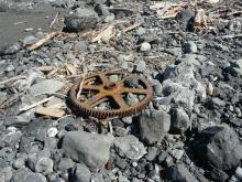 When visible, this piece of machinery (from old Frankport operation) is usually embedded in sand