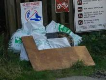 This is a picture of some of the trash that was picked up by us on this Solv Beach Clean-up Day!