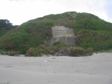 landslide in cliff along Bandon Dunes golf course