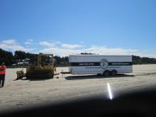 This trailer is being used to haul smaller equipment to the dock removal project site