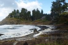 "December 14, 2012, ""King Tide"" of 10.6 feet at 11:50am breaches bedrock lip of Little Whale Cove"