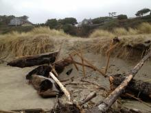 Today there were many pieces of broken lumber scattered the entire mile. These pieces were just north of the Siletz jaws.