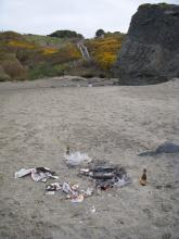 Fire waste and picnic trash from prior night; 5 x 5-foot area of partially burned paper, beer bottles and plastic bags.  Area was within sight of the Face Rock Wayside access steps.