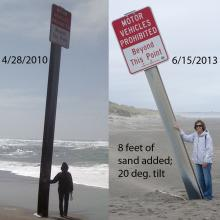 Photo taken 4/28/2010 shows a near vertical post exposed about 21 feet. A new photo on 6/15/2013 shows a post exposed about 13 feet and tilted about 20 degrees. Slightly over 8 feet of sand has been deposited (or the post has settled).