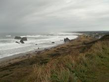 Looking north from above Table Rock at Mile 102 south of the Coquille River and the segment north of the river at 10 a.m. during King Tide of 8.6 feet.