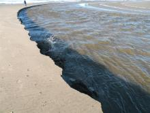 Large clumps of sand break off in constant erosion falling into creek with loud splashes.Stand back from the edge!!!