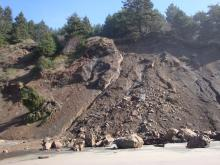 recent rock slide at north end of mile 245