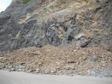 Large rockslide south of the Arch Cape