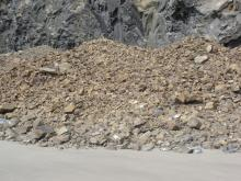 large rock slide (60 yards  x 30 yards deep, x @ 20ft high
