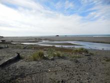 creek split by sand mounds, lessening flow