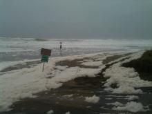 Large amounts of sea foam in area usual having little.