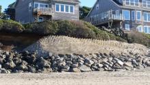 Bella Beach plantings above man made riprap wall