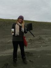 Lucia with large plastic debris.