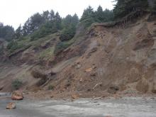 Beginning of active rock slide in Roads End.
