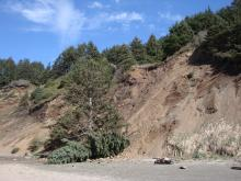 Active rock slide on Roads End beach.