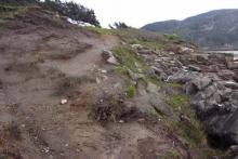 Another view of erosion looking up toward parking area.
