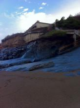 The impact of winter storms has denuded the Beach At Fogarty Creek