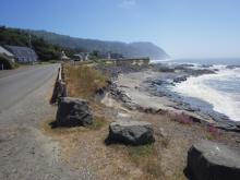 Looking south from Oceanview Drive and 7th street.Note proximity of eroded bluff to the road.