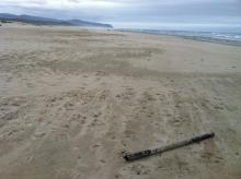 Found big length of PVC pipe laying on beach. Origin unknown. We pulled it off of the beach and disposed of it.