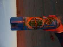 Chinese Spray Can, Golden Dragon, found on beach