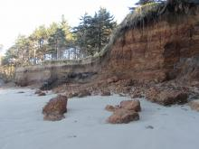 Eroded bluffs, South of Cape Lookout picnic site