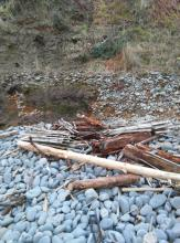 dumped debris, Tillamook County, Cove Beach south, Tillamook-Clatsop county line
