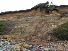 Exposure of delineated area on the cliff line