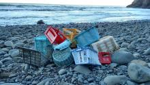 Look at all these plastic baskets and totes that I picked up within a quarter mile of beach! Many of these contain Japanese writing on them.