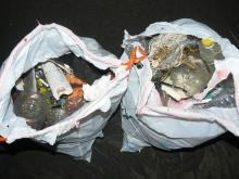 Bags of bottles, fishing gear, shoes, and macro-plastics.