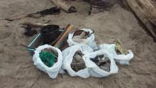 We found significantly more trash on our mile than in previous cleanups. Most of it appeared to have washed onshore. Lots of fishing gear and large pieces of plastic.