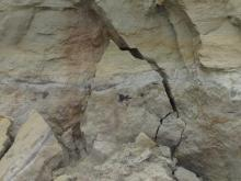 Closeup of cliff erosion