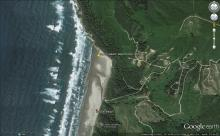 google map site, Coos County, Fivemile Creek, north Sacchi Beach
