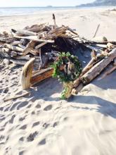 There are several driftwood forts which have been built on the beach, some for fire shelter.