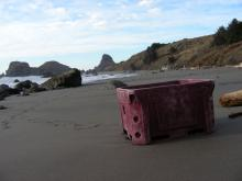 This fishing storage container has moved south this winter, about 1/4 mile on the beach.