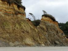 This chunk of cliff separated in January 2006 and is still eroding.