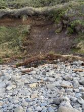 Landslide on high bank