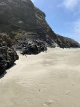 Sand bank built up on the beach
