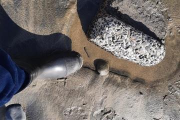 chunk of concrete or asphalt