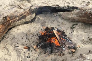 Unattended beach fire