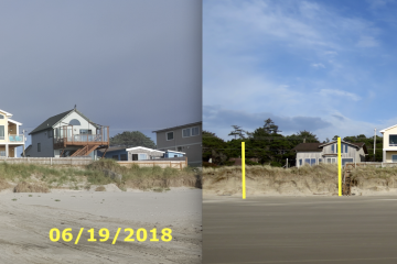 Permitted soft bank protection applied by bulldozer on June 19, 2018 is all but gone by Mar 20, 2019