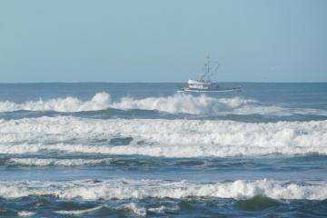 Crabbing boat working close to shore