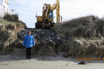 Beach access cut at Wakonda Beach.