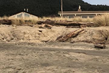 King tide dune erosion threatens homes at Nadona Beach