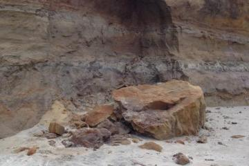 Bank erosion further down the beach